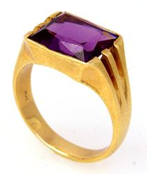 Men's Synthetic Purple Gem Ring in Gold, Size 9.25