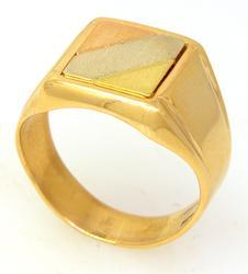 Men's Tri-Color Gold Signet Ring, Size 9