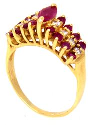 Petite Red Ruby & Diamond Ring in Gold, Size 4