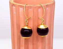 Drop Ball Onyx Earrings in Gold
