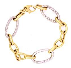 Two-Tone Laser-Cut Link Bracelet in Gold, 7.5in