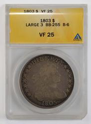 VF25 1803 Draped Bust Dollar Large 3 - ANACS Graded