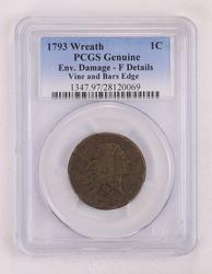 Genuine 1793 Wreath Flowing Hair Large Cent - PCGS Graded