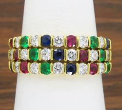 18K Yellow Gold Multi Gemstone Diamond Ring