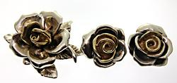 Large Chunky Style Rose Set in Sterling
