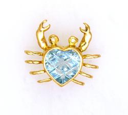 Fancy Cut Blue Topaz Crustacean Pendant in Gold