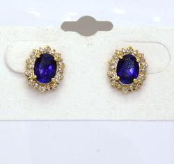 Brilliant Blue Sapphire Post Earrings