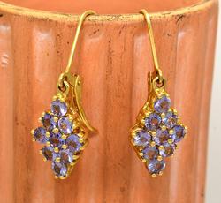 Lavender Gemstone Cluster Drop Earrings in Gold
