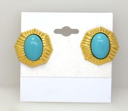 Vintage Turquoise Post Earrings in Gold