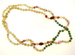 Long Jade Necklace with Ornamental Beads