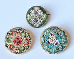 Three (3) Fabulous, Antique Italian, Handcrafted 'Micro Mosaic' Pins