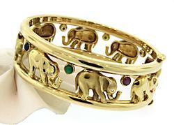 Elephant Bangle with Diamonds & Gems in 18K