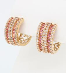 14K Rose Gold Diamond and Pink Gemstone Hoop Earrings