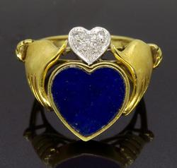 14K Yellow Gold Claddagh Lapis and Diamond Ring