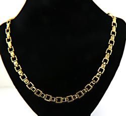 Chic Square Link Yellow Gold Necklace in 18K