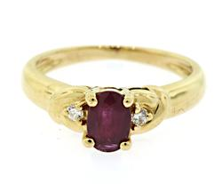 Timeless Ruby & Diamond Accent Ring in 18K