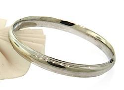 Sleek Polished White Gold Bangle