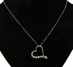 Sparkling Diamond Journey Heart Pendant Necklace