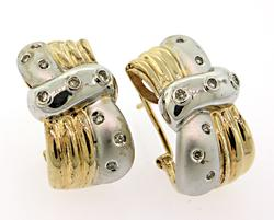 Dazzling 2 Tone Earrings with Diamonds
