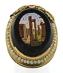 14KT Black Onyx and Pearl Ring