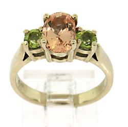 14kt Pink Topaz and Peridot Cocktail Ring