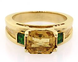 Citrine and Emerald Gold Ring