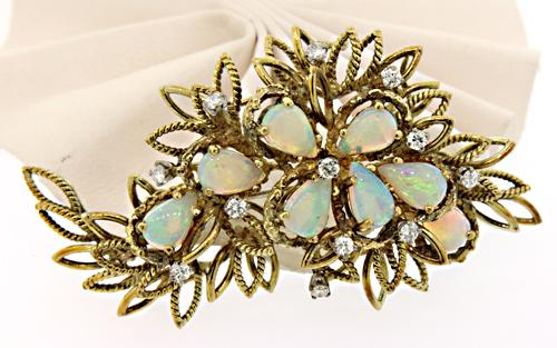 Chic Vintage Style Opal & Diamond Brooch