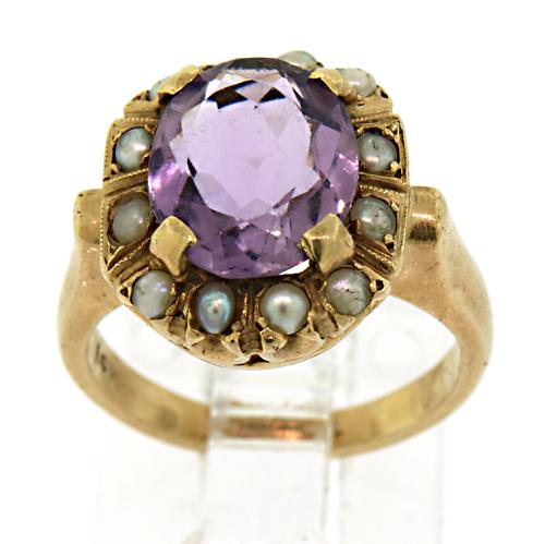 14kt Amethyst and Pearl Ring