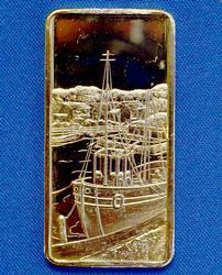 1oz Fine Silver Sea Port Bar, Gold Plate