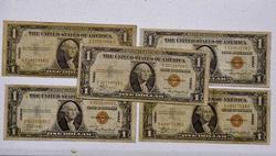 5 x Hawaii Emergency WWII Silver Cert $1