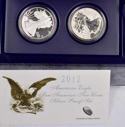 2012 San Fran Proof Eagle 2 Coin Set, OGP