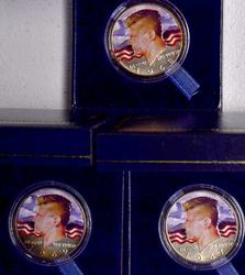 Trio of Colorized JFK 50c Pieces, 1967-69