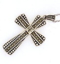 Large Marcosite Cross & 18in Chain, Sterling