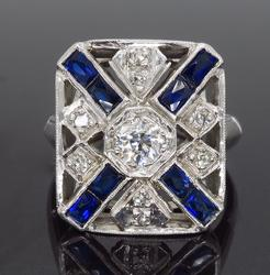 Vintage Diamond and Sapphire Ring