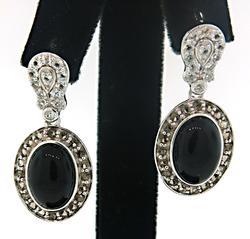 Carlo Viani Onyx & Sapphire Earrings