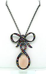 Le Vian Bow Tie Pendant with Pink Opal & Multi Colored Gemstones