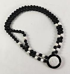 Le Vian Black & White Agate Beaded Necklace