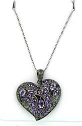 Le Vian Heart Shaped Pendant Necklace with Purple Gemstones
