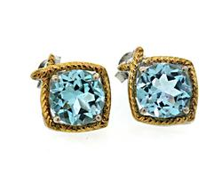 Le Vian Blue Topaz Push Back Earrings