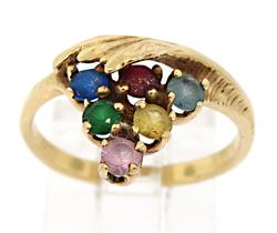 14KT Solid Yellow Gold Multi-Color Gemstone Ring