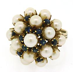 14KT Yellow Gold Pearl & Blue Gemstone Cluster Ring