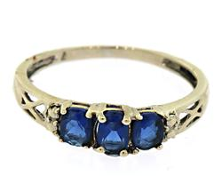 10KT White Gold Ring with Three Blue Sapphires