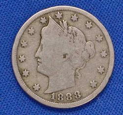 Nicer 1888 V Nickel, Vg or Better