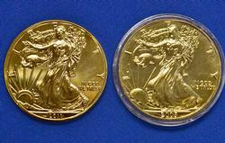 Two Gold Plated Silver Eagle, 2005 & 2011