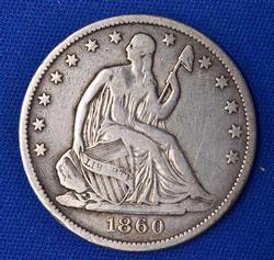1860-O Seated Liberty Half Dollar, Circ