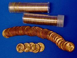 Three Rolls of Red BU Wheat Cents, 1955-S