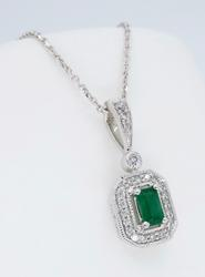 14K White Gold Emerald & Diamond Necklace