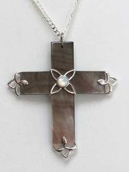Simple Angelic, Natural 'Abalone' Mother of Pearl 'Cross' Necklace
