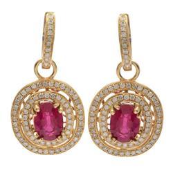 14kt Yellow Gold Ruby & Diamond Earrings