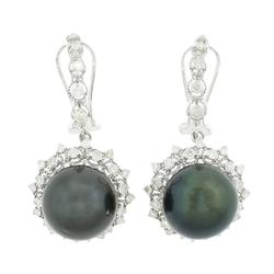 Elegant Tahitian Cultured Pearl & Diamond Earrings